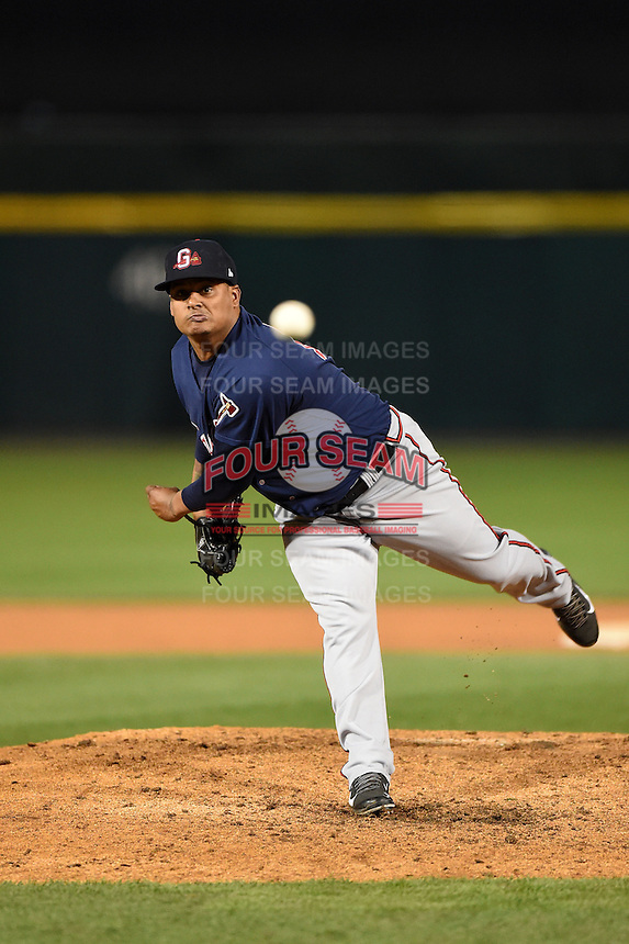 Gwinnett Braves pitcher Atahualpa Severino (18) delivers a pitch during a game against the Buffalo Bisons on May 13, 2014 at Coca-Cola Field in Buffalo, New  York.  Gwinnett defeated Buffalo 3-2.  (Mike Janes/Four Seam Images)