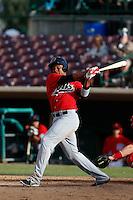 Ramon Morla #22 of the High Desert Mavericks bats against the Inland Empire 66'ers at San Manuel Stadium on April 8, 2013 in San Bernardino, California. Inland Empire defeated High Desert, 6-2. (Larry Goren/Four Seam Images)