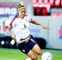 Natasha Kai dribbles the ball. USA 4,  Norway 0, Fredrikstad Stadium, July 2, 2008.