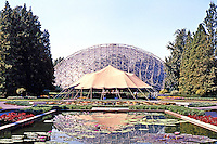 "St. Louis Climatron, Shaw's Gardens. Murphy & Mackey of St. Louis, under patent license from Bucky Fuller, who was ""consultant""."