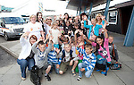 Chernobyl children members of Clonmel outreach group pictured with Children from Chernobyl after arriving from Chernobyl into Shannon Airport.. Picture Credit: Brian Gavin Press 22