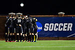 GREENSBORO, NC - DECEMBER 02: North Park University players huddle during the Division III Men's Soccer Championship game against Messiah College held at UNC Greensboro Soccer Stadium on December 2, 2017 in Greensboro, North Carolina. Messiah College defeated North Park University 2-1 to win the national title. (Photo by Grant Halverson/NCAA Photos via Getty Images)