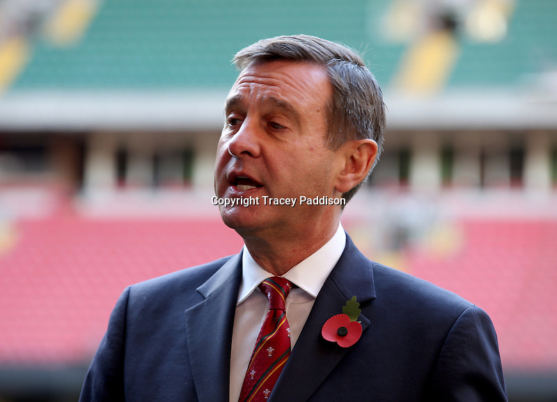 Monday 3 November 2014<br /> Pictured: WRU Chief Executive, Roger Lewis<br /> Re: WRU unveils new hybrid pitch at the Millennium Stadium, Cardiff.