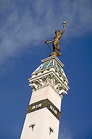 """Sculpture of """"""""Lady Victory"""""""" atop the Soldiers and Sailors Monument at Monument Circle in downtown Indianapolis, Indiana. Indianapolis Indiana."""
