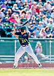 16 July 2017: Vermont Lake Monsters designated hitter Jordan Devencenzi in action against the Auburn Doubledays at Centennial Field in Burlington, Vermont. The Monsters defeated the Doubledays 6-3 in NY Penn League action. Mandatory Credit: Ed Wolfstein Photo *** RAW (NEF) Image File Available ***