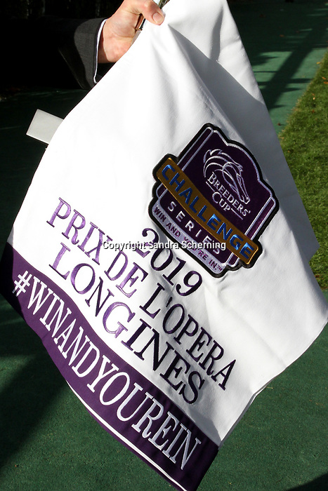 October 06, 2019, Paris (France) - Cloth for Breeders Cup Callenge Series for the winner of the Prix de L'Opera Longines (for Breeders' Cup Filly & Mare Turf) on October 6 in ParisLongchamp. [Copyright (c) Sandra Scherning/Eclipse Sportswire)]