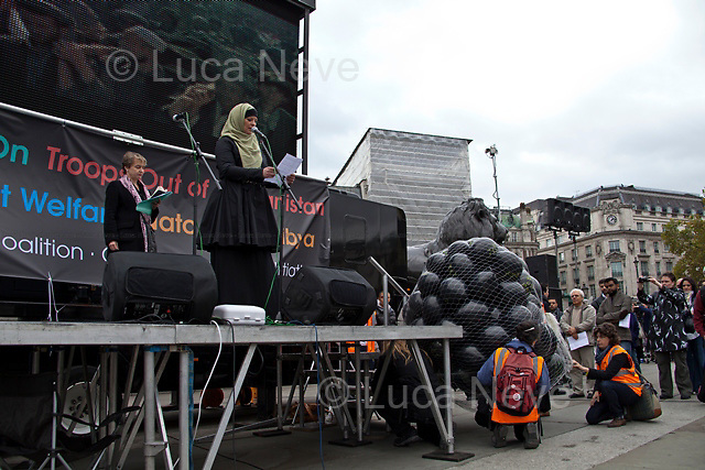 Lauren Booth (English broadcaster, journalist and pro-Palestinian activist).<br /> <br /> London, 08/10/2011. Today Trafalgar Square was the stage of the &quot;Antiwar Mass Assembly&quot; organised by The Stop The War Coalition to mark the 10th Anniversary of the invasion of Afghanistan. Thousands of people gathered in the square to listen to speeches given by journalists, activists, politicians, trade union leaders, MPs, ex-soldiers, relatives and parents of soldiers and civilians killed during the conflict, and to see the performances of actors, musicians, writers, filmmakers and artists. The speakers, among others, included: Jeremy Corbin, Joe Glenton, Seumas Milne, Brian Eno, Sukri Sultan and Shadia Edwards-Dashti, Hetty Bower, Mark Cambell, Sanum Ghafoor, Andrew Murray, Lauren Booth, Kate Hudson, Sami Ramadani, Yvone Ridley, Mark Rylance, Dave Randall, Roger Lloyd-Pack, Rebecca Thorn, Sanasino al Yemen, Elvis McGonagall, Lowkey (Kareem Dennis), Tony Benn, John Hilary, Bruce Kent, John Pilger, Billy Hayes, Alison Louise Kennedy, Joan Humpheries, Jemima Khan, Julian Assange, Lindsey German, George Galloway. At the end of the speeches a group of protesters marched toward Downing Street where after a peaceful occupation the police made some arrests.