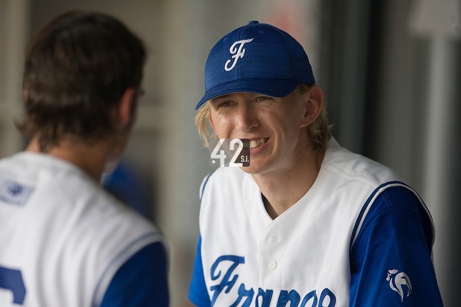 19 August 2007: Luc Piquet sits in the dugout during the Japan 4-3 victory over France in the Good Luck Beijing International baseball tournament (olympic test event) at the Wukesong Baseball Field in Beijing, China.