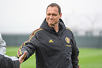 20190409 - TUBIZE , Belgium : Belgian head coach Xavier Donnay pictured during a women soccer game between the under 19 teams of Belgium and Poland. This is the Third and final game in their elite round qualification for the European Championship in Schotland 2019. The Belgian national women's soccer team is called the Red Flames, on the 9 th of April in Tubize. PHOTO DAVID CATRY | Sportpix.be
