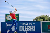 Haydn Porteous (RSA) on the 1st tee during the 1st round of the 2017 Portugal Masters, Dom Pedro Victoria Golf Course, Vilamoura, Portugal. 21/09/2017<br /> Picture: Fran Caffrey / Golffile<br /> <br /> All photo usage must carry mandatory copyright credit (&copy; Golffile | Fran Caffrey)