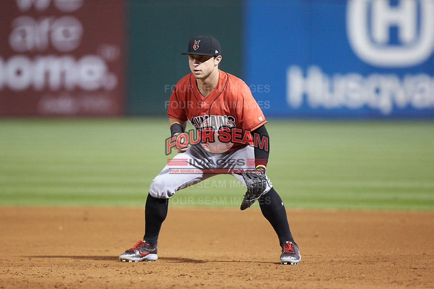 Indianapolis Indians first baseman Wyatt Mathisen (19) on defense against the Charlotte Knights at BB&T BallPark on May 26, 2018 in Charlotte, North Carolina. The Indians defeated the Knights 6-2.  (Brian Westerholt/Four Seam Images)