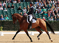 LEXINGTON, KY - April 28, 2017. #46 Loughan Glen and Clark Montgomery from the USA finish 1st in Dressage at the Rolex Three Day Event at the Kentucky Horse Park.  Lexington, Kentucky. (Photo by Candice Chavez/Eclipse Sportswire/Getty Images)