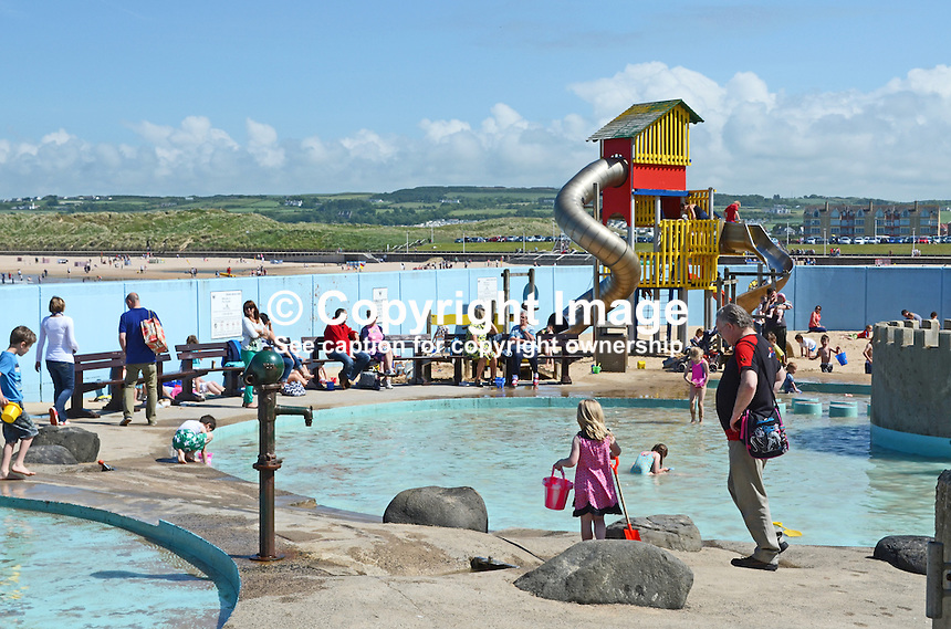 GV, general view, children's play area, Arcadia, Portrush, Co Antrim, N Ireland, UK, pool, bathers, 201406213171<br />