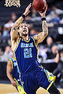 MAR 7, 2016: Baltimore, MD - North Carolina-Wilmington Seahawks forward Marcus Bryan (21) goes up strong to the basket against Hofstra Pride during the Championship game of the CAA Basketball Tournament at Royal Farms Arena in Baltimore, Maryland. (Photo by Philip Peters/Media Images International)