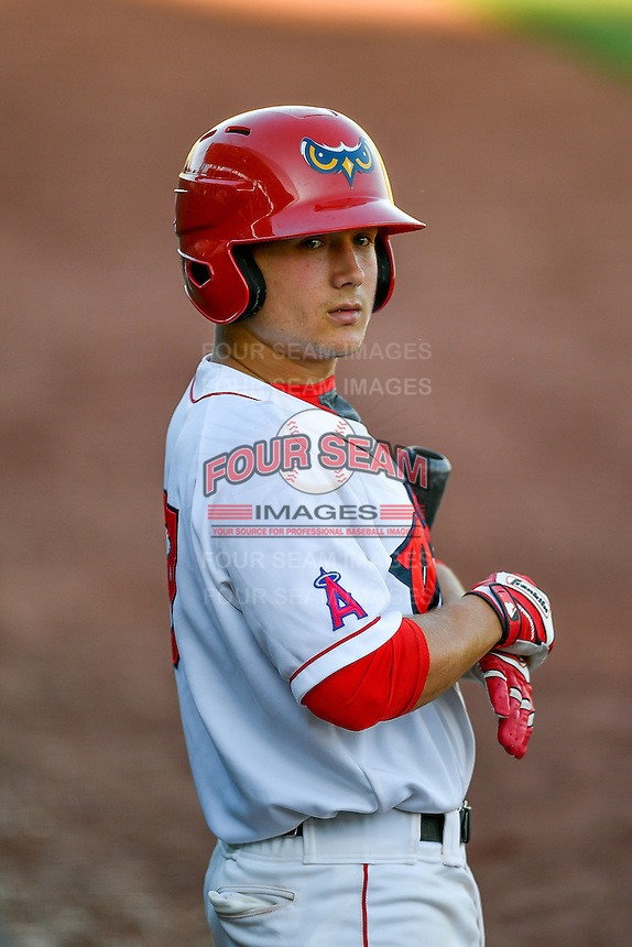 Matt Thaiss (37) of the Orem Owlz during the game against the Grand Junction Rockies in Pioneer League action at Home of the Owlz on July 6, 2016 in Orem, Utah. The Owlz defeated the Rockies 9-1 in Game 1 of the double header.   (Stephen Smith/Four Seam Images)