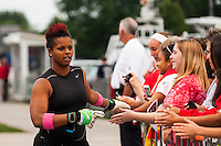 Portland Thorns goalkeeper Karina LeBlanc (1) greets fans before warmups. The Portland Thorns defeated the Western New York Flash 2-0 during the National Women's Soccer League (NWSL) finals at Sahlen's Stadium in Rochester, NY, on August 31, 2013.