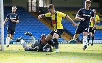 Will Smith, Harrogate Town,  protects Joe Cracknell, Harrogate Town,  as he gathers the ball during Southend United vs Harrogate Town, Sky Bet EFL League 2 Football at Roots Hall on 12th September 2020
