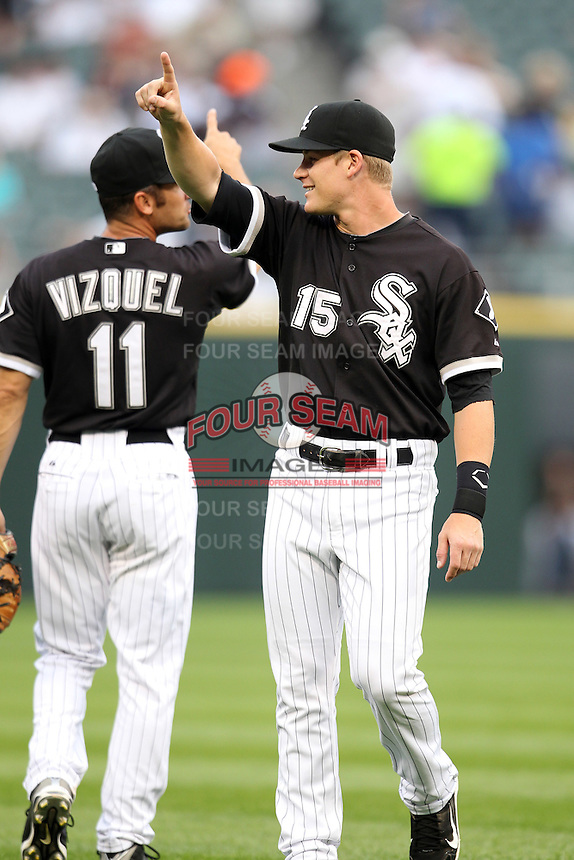 Chicago White Sox second baseman Gordon Beckham (15) during a game vs. the Detroit Tigers at U.S. Cellular Field in Chicago, Illinois August 13, 2010.   Chicago defeated Detroit 8-4.  Photo By Mike Janes/Four Seam Images