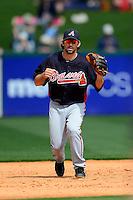 Atlanta Braves third baseman Blake DeWitt during practice before a Spring Training game against the Detroit Tigers at Joker Marchant Stadium on February 27, 2013 in Lakeland, Florida.  Atlanta defeated Detroit 5-3.  (Mike Janes/Four Seam Images)