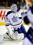 10 April 2010: Toronto Maple Leafs' goaltender Jean-Sebastien Giguere warms up prior to a game against the Montreal Canadiens at the Bell Centre in Montreal, Quebec, Canada. The Maple Leafs defeated the Canadiens 4-3 in sudden death overtime. Mandatory Credit: Ed Wolfstein Photo
