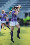 Taylor Romano (4) of the High Point Panthers heads the ball during first half action against the Duke Blue Devils at Koskinen Stadium on September 11, 2016 in Durham, North Carolina.  The Blue Devils defeated the Panthers 4-1.   (Brian Westerholt/Sports On Film)