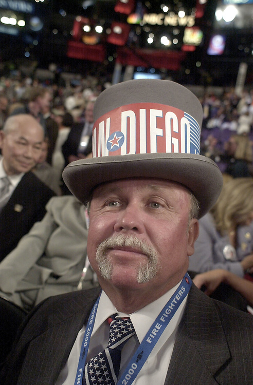 DNCconvention5(TW)081500 --California delegate Joe Heisler on the floor of the Staples Center.