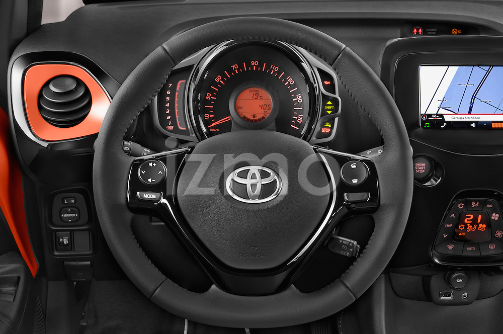 Steering wheel view of 2015 Toyota AYGO X-CITE 2WD MT 5 Door Micro Car 2WD Stock Photo