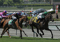 ARCADIA, CA. JUNE 17: #4 Sircat Sally ridden by Mike Smith is challenged by #5 Beau Recall ridden by Joseph Talamo in the stretch of the Honeymoon Stakes (Grade ll) on June 17, 2017 at Santa Anita Park in Arcadia, CA(Photo by Casey Phillips/Eclipse Sportswire/Getty Images)