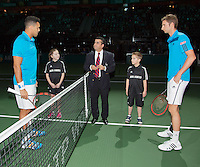 10-02-14, Netherlands,Rotterdam,Ahoy, ABNAMROWTT,, , Jo-Wilfried Tsonga(FRA) and Florian Mayer(GER)<br /> Photo:Tennisimages/Henk Koster