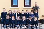 Junior Infants on their first day at Glounaguillagh National School, Caragh Lake pictured with their teacher, Aoife O'Sullivan<br /> Front L-R Caoimhe Foley, Jack O'Sullivan, Emiee Lynch, Fraya Morrison, Oisin Griffin, Julia Seagrave.<br /> Back L-R Charlie Enright, Mia Bruton, Coimhe O'Connor, Liza Tipulova, Lorcan Doyle, Jack Moloney, John Mulvihill, Eoghan O'Malley