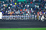 Tsuruga Kehi team group,<br /> APRIL 1, 2015 - Baseball :<br /> Tsuruga Kehi players line up during the closing ceremony after winning the 87th National High School Baseball Invitational Tournament final game between Tokai University Daiyon 1-3 Tsuruga Kehi at Koshien Stadium in Hyogo, Japan. (Photo by Katsuro Okazawa/AFLO)