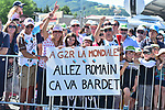 Romain Bardet (FRA) AG2R fans out in force during Stage 15 of the 104th edition of the Tour de France 2017, running 189.5km from Laissac-Severac l'Eglise to Le Puy-en-Velay, France. 16th July 2017.<br /> Picture: ASO/Pauline Ballet | Cyclefile<br /> <br /> <br /> All photos usage must carry mandatory copyright credit (&copy; Cyclefile | ASO/Pauline Ballet)
