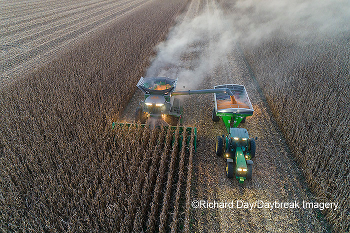 63801-12916 Harvesting corn and unloading into grain cart in fall-aerial  Marion Co. IL
