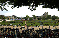 Bycicles parked in Jardin des Tuileries Paris, France.