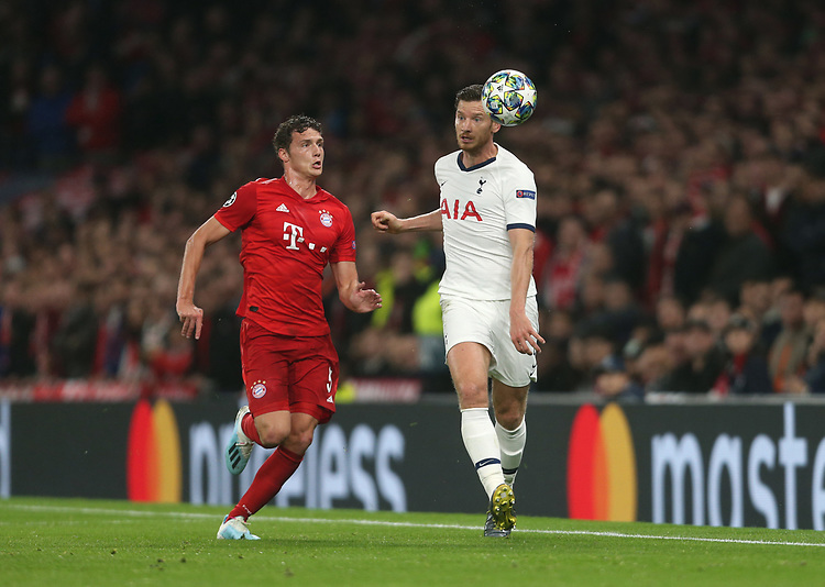 Tottenham Hotspur's Jan Vertonghen and Bayern Munich's Benjamin Pavard<br /> <br /> Photographer Rob Newell/CameraSport<br /> <br /> UEFA Champions League Group B  - Tottenham Hotspur v Bayern Munich - Tuesday 1st October 2019 - White Hart Lane - London<br />  <br /> World Copyright © 2018 CameraSport. All rights reserved. 43 Linden Ave. Countesthorpe. Leicester. England. LE8 5PG - Tel: +44 (0) 116 277 4147 - admin@camerasport.com - www.camerasport.com