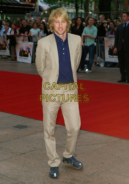 """OWEN WILSON.At the UK Film Premiere of """"You, Me & Dupree"""",.Odeon Leicester Square, London, England, .August 22nd 2006..full length beige suit jacket navy blue shirt.Ref: AH.www.capitalpictures.com.sales@capitalpictures.com.©Adam Houghton/Capital Pictures."""