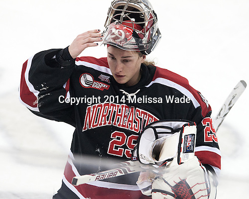 Chloe Desjardins (NU - 29) - The Northeastern University Huskies defeated the Harvard University Crimson 4-3 in the opening round of the 2014 Beanpot on Tuesday, February 4, 2014, at Kelley Rink in Conte Forum in Chestnut Hill, Massachusetts.