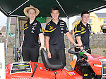 Daniel McCarthy Edwards, Dan Finnamore and Rollo Konig Brock from Octane racing who raffled a ride on lawnmower at the Viking festival in Annagassan to raise funds to get to Malasia for the world finals of the Formula 1 schools competition. Photo: www.pressphotos.ie