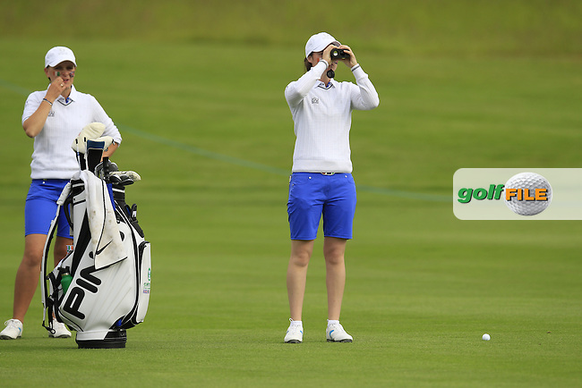 Charlotte Thomas and Leona Maguire on the 3rd during the Friday morning foursomes at the 2016 Curtis cup from Dun Laoghaire Golf Club, Ballyman Rd, Enniskerry, Co. Wicklow, Ireland. 10/06/2016.<br /> Picture Fran Caffrey / Golffile.ie<br /> <br /> All photo usage must carry mandatory copyright credit (&copy; Golffile | Fran Caffrey)