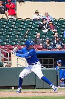 Ryan Jackson (8) of the Omaha Storm Chasers at bat against the Memphis Redbirds in Pacific Coast League action at Werner Park on April 22, 2015 in Papillion, Nebraska.  (Stephen Smith/Four Seam Images)