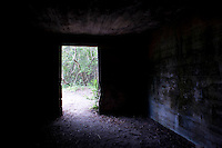 Inside the Kure Beach Hermit's bunker, formerly a WWII bunker.