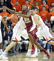 Florida State guard Aaron Thomas (25) gets bumped by Virginia forward/center Mike Tobey (10) during the second half of an NCAA basketball game Saturday Jan. 18, 2014 in Charlottesville, VA. Virginia defeated Florida State 78-66. Virginia defeated Florida State 78-66. (AP Photo/Andrew Shurtleff)