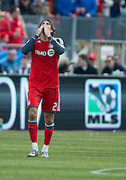 02 April 2011: Toronto FC forward Alan Gordon #21 looks to the heavens after scoring the equalizer during an MLS game between Chivas USA and the Toronto FC at BMO Field in Toronto, Ontario Canada..The game ended in a 1-1 draw...
