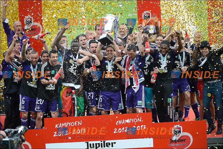 team of RSC anderlecht - joie - celebration .Anderlecht Campione del Belgio .Football Calcio 2012/2013.Jupiter League Belgio .Foto Insidefoto .ITALY ONLY