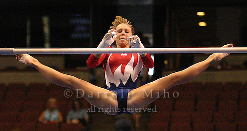 Jun 27, 2004; Anaheim, CA - Hollie Vise performs her routine on the uneven bars at the Women's US Olympic Artistic Gymnastics Trials at the Arrowhead Pond...Photo: Darrell Miho