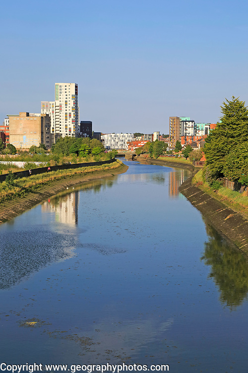 River Orwell view to urban redevelopment in the Wet Dock, Ipswich, Suffolk, England, UK