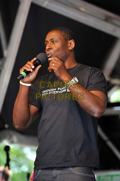 David Harewood<br /> attending The Big IF, Hyde Park, London, England. <br /> 8th June 2013<br /> half length black t-shirt enough food for everyone microphone  <br /> CAP/MAR<br /> &copy; Martin Harris/Capital Pictures