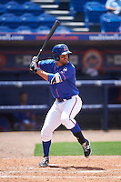 St. Lucie Mets designated hitter Wuilmer Becerra (20) at bat during a game against the Brevard County Manatees on April 17, 2016 at Tradition Field in Port St. Lucie, Florida.  Brevard County defeated St. Lucie 13-0.  (Mike Janes/Four Seam Images)