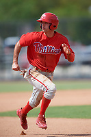 Philadelphia Phillies Dalton Guthrie (4) runs the bases during an Instructional League game against the Atlanta Braves on October 9, 2017 at the Carpenter Complex in Clearwater, Florida.  (Mike Janes/Four Seam Images)
