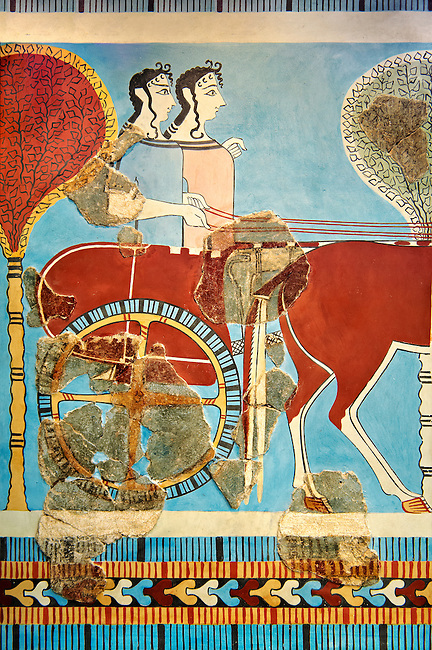 Mycenaean Fresco wall painting of a chariot from the Tiryns, Greece. 14th - 13th Century BC. Athens Archaeological Museum.